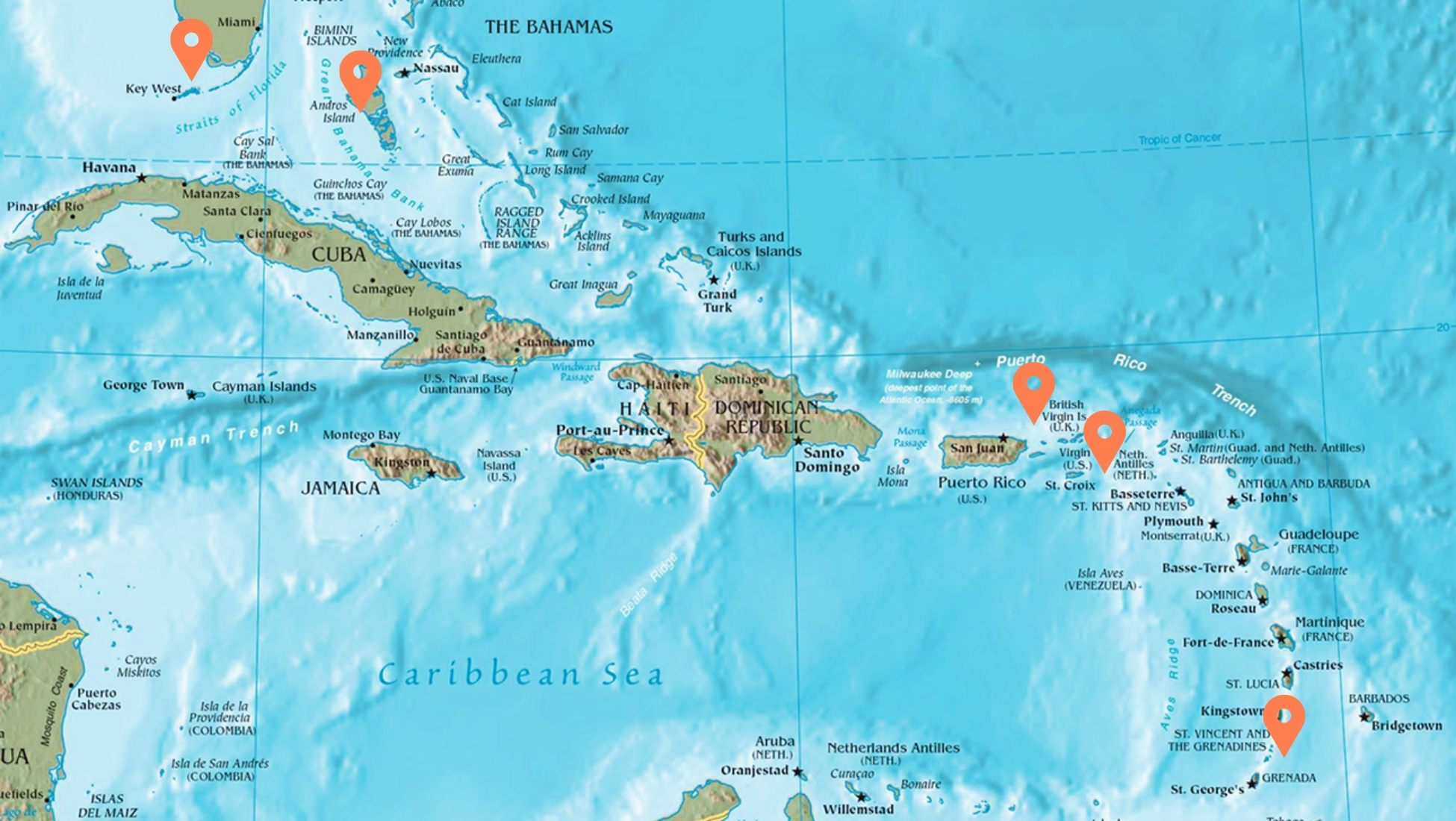Caribbean Sea Destinations Map